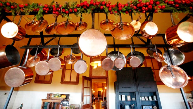 Cookware hangs in the kitchen at the Biltmore November 11, 2016.