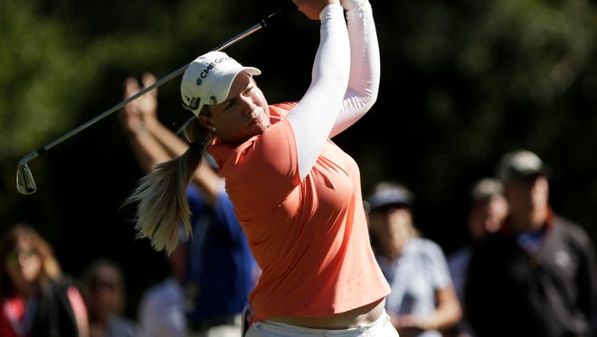 Brittany Lincicome of Seminole, Fla. tees off during the CME Group Tour Championship at Tiburon Golf Club in Naples, Fla. on Sunday, Nov. 20, 2016.