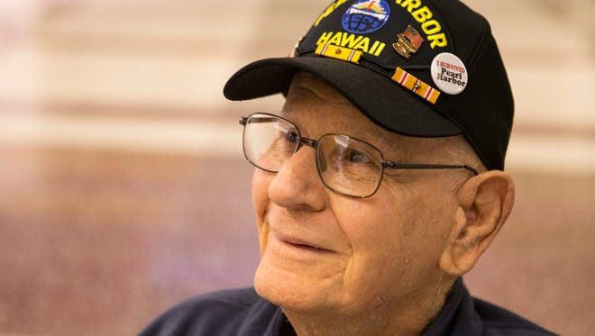 "Pearl Harbor veteran Charles Hocker, 92, wears a Pearl Harbor hat as he arrives at the Louisville airport Thursday morning to begin his flight to Washington, D.C. Hocker will be a Grand Marshall in the parade events remembering those that served and were lost in the attack that prompted America to join WWII. Hocker has wanted to go see the memorials and return to Pearl Harbor for 75 years. ""It's everything to me, or I wouldn't be struggling to go. I had a hard time even getting in the car to get out here,"" Hocker said with a laugh. ""All the honor bestowed on me I'll pass it on to all my friends that were in the service with me. Some of them came back. Some didn't."" Dec. 1, 2016"