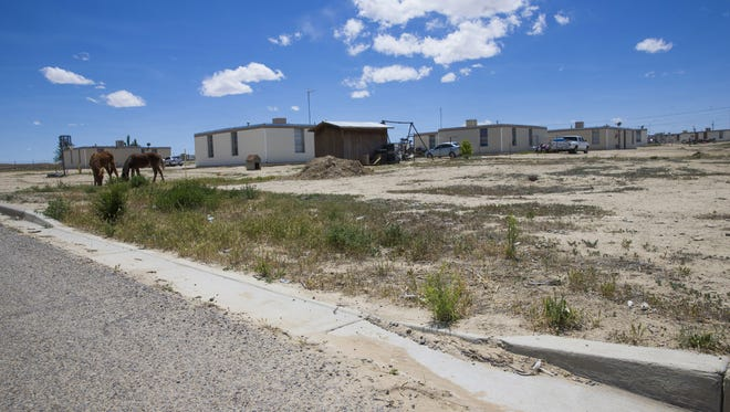 Horses graze on the former site of a Navajo Housing Authority project in Shiprock, Ariz. Houses were built, then torn down without being occupied, amid a torrent of problems.