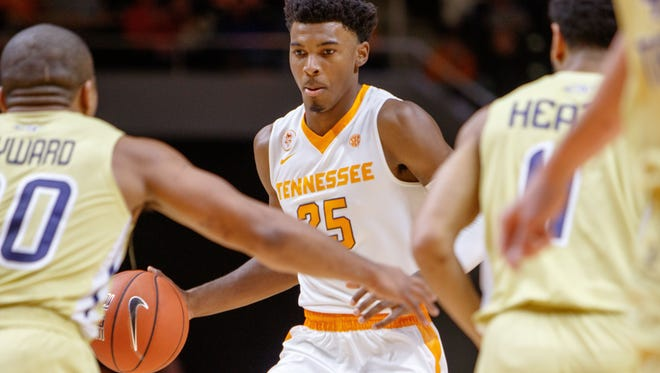 Tennessee guard Shembari Phillips averaged 5.8 points over two seasons with the Vols.