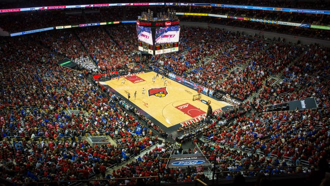 A packed house at the KFC Yum Center for the UK and U of L basketball game Wednesday night. Dec. 21, 2016