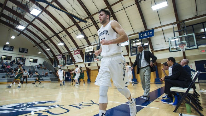 Middlebury's Matt St. Amour heads onto the court against Lyndon State in Middlebury on Jan. 24.