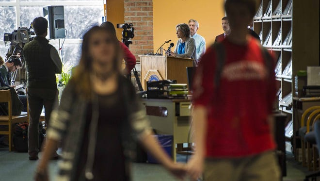 Vermont Education Secretary Rebecca Holcombe, right, speaks during a news conference on Tuesday, November 10, 2015, at the Essex High School library to promote Act 46, the recently-passed school consolidation bill.  Speakers also praised the recent approval by voters in Essex, Essex Town and Westford to unify their school districts.