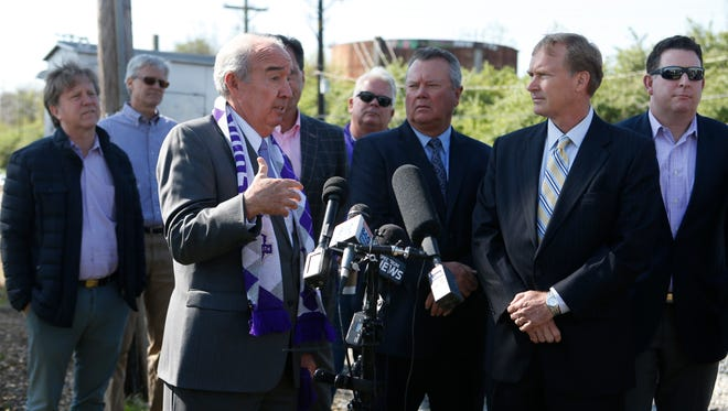 Louisville City FC board member Mike Mountjoy spoke during a press conference to announce the team's new stadium plans in Butchertown. April 12, 2017.