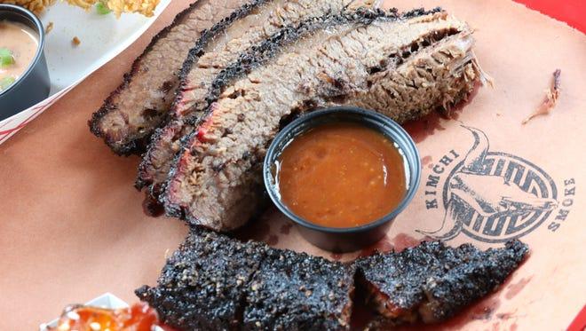 Beef brisket at Kimchi Smoke in Westwood.