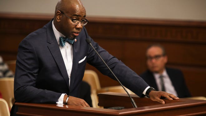 Ricky Jones, Ph D., addresses the Metro City Council members in attendance during a hearing regarding his appointment to the Citizens Commission on Police Accountability Board. May 1, 2017