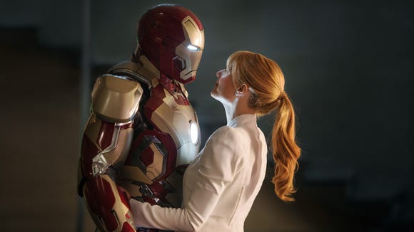 "Tony (Robert Downey Jr.) and Pepper (Gwyneth Paltrow) share one of the few non-dangerous moments in ""Iron Man 3."""