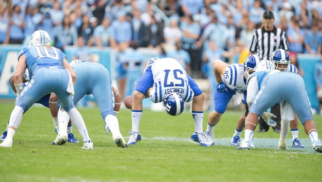 Duke's Thomas Hennessy, a Bardonia, is show snapping to a kicker during a 66-31 loss at North Carolina on Nov. 7, 2015. Hennessy signed with the Colts as an undrafted free agent.