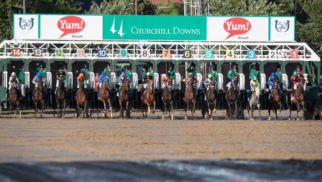 Competitors come out of the starting gate at the beginning of the 143rd Kentucky Derby at Churchill Downs. May 6, 2017