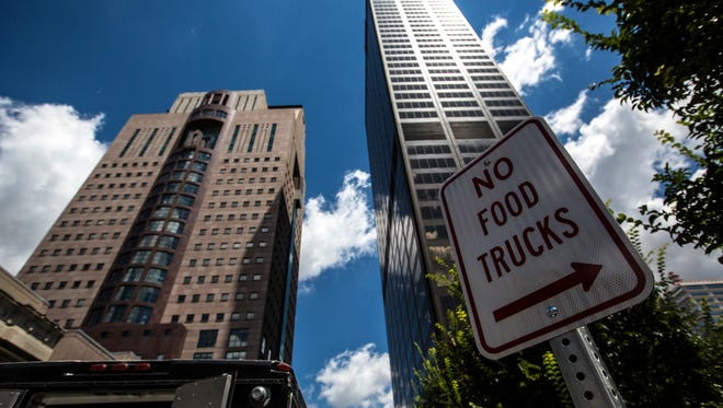 A sign restricting where food trucks can park at Fifth and Market Streets. June 27, 2017.