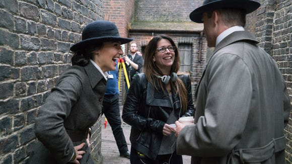 Director Patty Jenkins enjoys a light moment with Gal