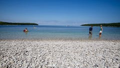Schoolhouse Beach on Washington Island features smooth,