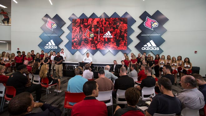 University of Louisville Athletic Director Tom Jurich addressed the media and students to announce a new $160 million contract with Adidas. Aug. 25, 2017.