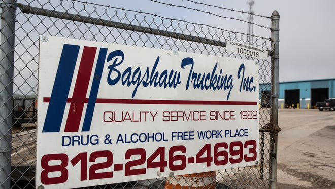 A drug free workplace sign at Bagshaw Trucking Co. in Memphis, Ind. Aug. 30, 2017