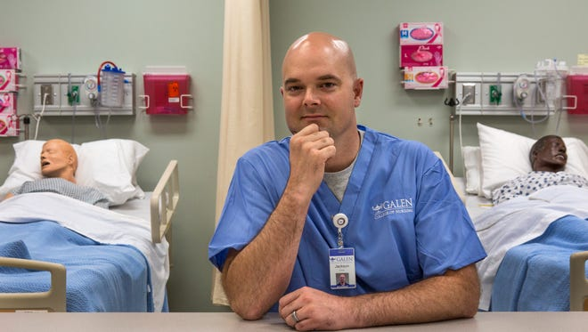 Jackson Graves is a graduating senior at the Galen College of Nursing. Graves is switching from commercial diving to nursing so that he won't have to travel so much. Sept. 14, 2017