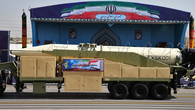 Iran's Khoramshahr missile is displayed by the Revolutionary Guard during a military parade marking the 37th anniversary of Iraq's 1980 invasion of Iran.