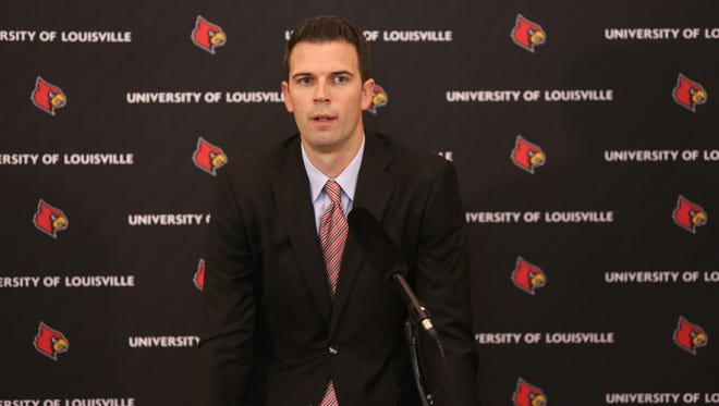 David Padgett was introduced as the new interim men's basketball coach at the University of Louisville. Sept. 29, 2017.
