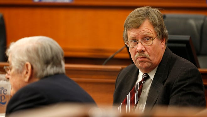 Louisville Metro Council member Dan Johnson looked around the room during a a trial to remove him from office. Nov. 1, 2017.