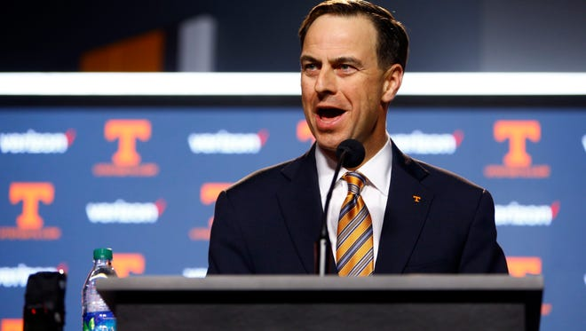 University of Tennessee athletic director, John Currie speaks during a press conference announcing the firing of head football coach, Butch Jones, Sunday, Nov. 12, 2017, in Knoxville, Tenn.