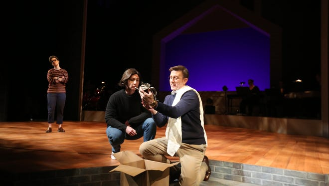 "Holly Grum, Scott Bradley and Natalie Lurowist (back left) rehearse a scene from ""Fun Home"" at the University of Iowa Theatre Building on Thursday, Nov. 30, 2017."