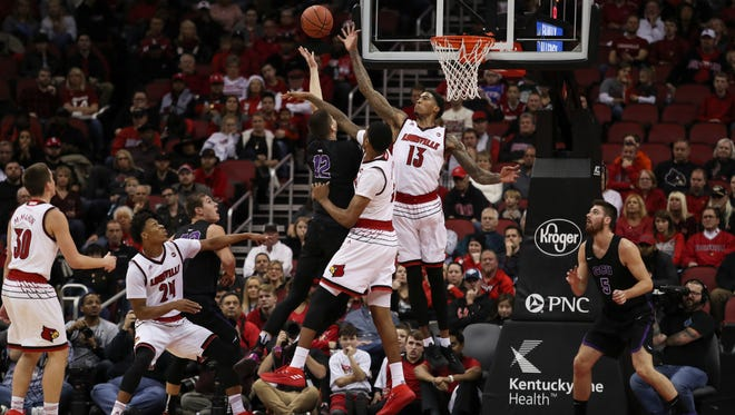 Cardinal Ray Spalding (13) blocks a shot during the first half of the Cards game against visiting Grand Canyon on Saturday. Dec. 23, 2017