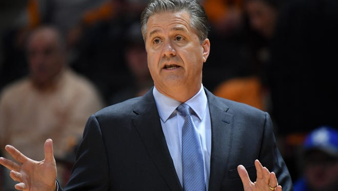 Jan 6, 2018; Knoxville, TN, USA; Kentucky Wildcats head coach John Calipari during the first half against the Tennessee Volunteers at Thompson-Boling Arena. Mandatory Credit: Randy Sartin-USA TODAY Sports