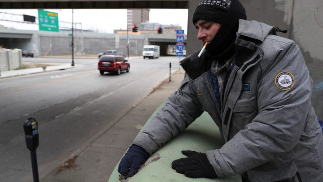 "Daniel McStoots, 34, was one of the men that were evicted from the homeless camp at Floyd and Jefferson weeks ago during a city clean-up effort. Today, he is back living at the camp. ""An anonymous donor paid for us to have four nights in a hotel when they kicked us out, but then it was just right back out here,"" McStoots said. The other gentleman, Roc Peeler, an amputee that later lost his other leg, has been given housing, but McStoots is still doing his best to brave the recent chilly temperatures. ""You really can't imagine it until you're out here in this situation,"" McStoots said. ""It's just how it feels all of the time. Like society has forgotten about you."" Jan. 5, 2017"