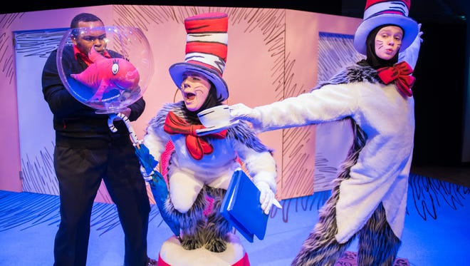 """Justin Lee (left), Sara Zientek and Marika Marklin bring a classic to life in First Stage's """"The Cat in the Hat."""""""