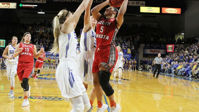 South Dakota's Jasmine Trimboli (5) scores a tough bucket over South Dakota State's Tylee Irwin during the third quarter of the Coyotes' 67-61 victory over the Jackrabbits in the teams' first meeting this season at Frost Arena.