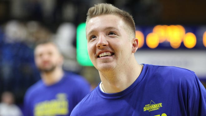South Dakota State's Reed Tellinghuisen smiles at the crowd before the game against North Dakota State Thursday night at Frost Arena in Brookings.