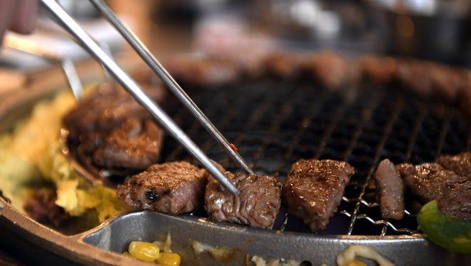 Ribeye at a Korean barbecue restaurant.