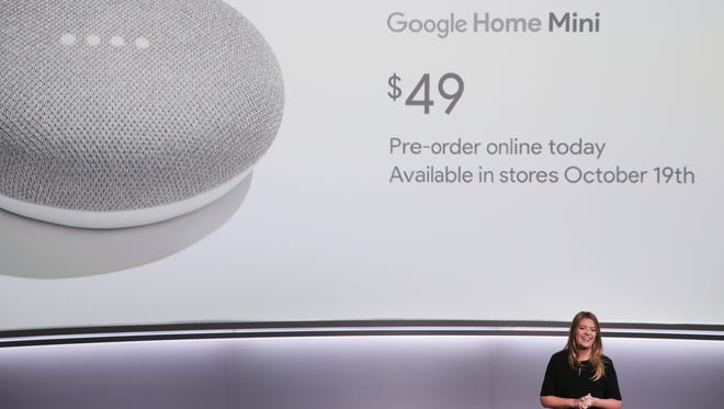 Isabelle Olsson, lead designer for home hardware for Google, introduces the Google Home Mini at a product launch event Oct. 4, 2017, at the SFJAZZ Center.