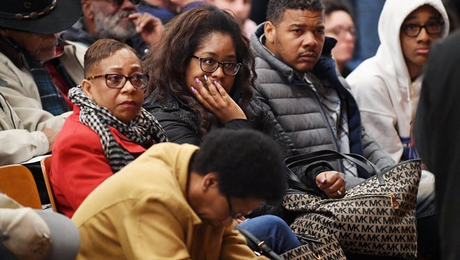 A large crowd attended the Asheville Citizens/Police Advisory Committee meeting at the Grant Center March 7 following revelations of the August beating, choking and shocking of a black pedestrian by police.