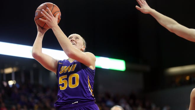 UNI's Megan Maahs takes a shot during the Panthers' MVC Tournament championship game against Drake at the TaxSlayer Center in Moline, Ill. on Sunday, March 11, 2018.