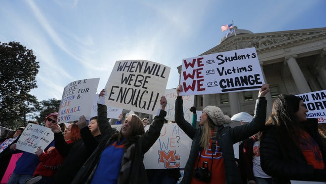 Students from Marshall County High School participated in a rally on the steps of the Capitol building in Frankfort for stricter gun regulations. Marshall County High is the site of a recent shooting incident. March 14, 2018.