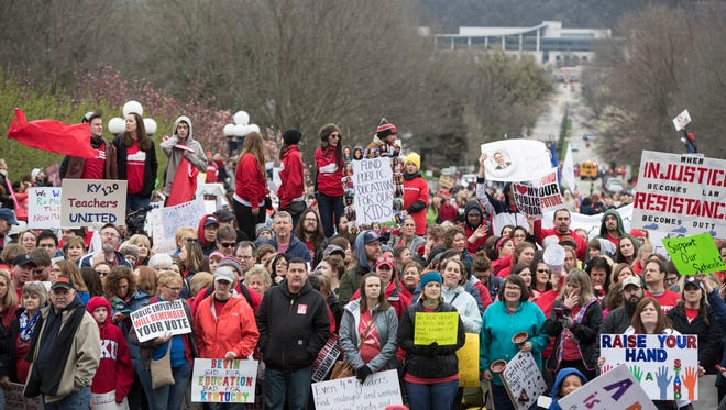 Thousands of Kentucky teachers and their supporters rallied at the State Capitol over recent changes that the state legislature made to their pensions. April 2, 2018.