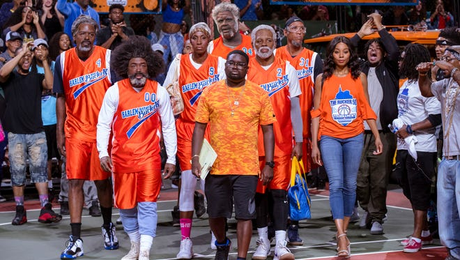 """Dax (center, Lil Rel Howery) leads an aging group of hoopsters (including Chris Webber, Nate Robinson, Lisa Leslie, Shaquille O'Neal, Kyrie Irving and Reggie Miller) in the comedy """"Uncle Drew"""" (June 29)."""