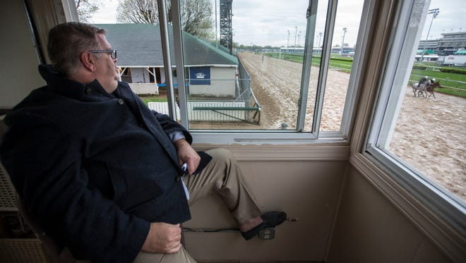 Dale Romans, the all-time leading trainer at Churchill Downs watched the horses during morning workouts at the track. April 23, 2018