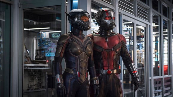 """The Wasp (Evangeline Lilly, left) and Ant-Man (Paul Rudd) were missing from """"Avengers: Infinity War"""" but return in their own movie in July."""