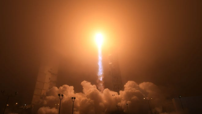 The NASA InSight spacecraft launches onboard a United Launch Alliance Atlas-V rocket on May 5, 2018, from Vandenberg Air Force Base in California.