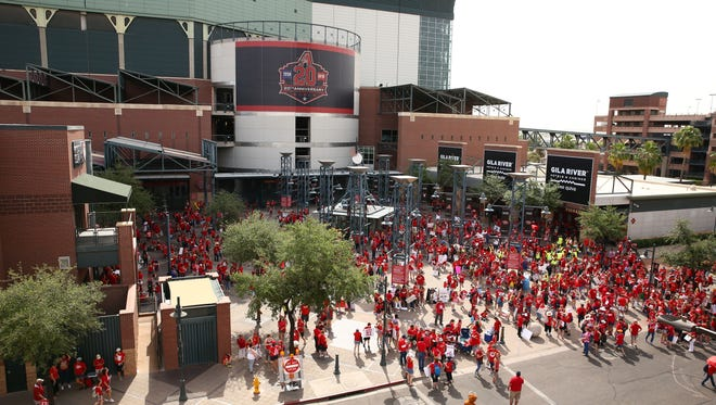 An overall view outside Chase Field in Phoenix.