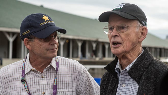 Bo Nixon, right, age 90, and his son Ted, left, are part owners of Justify. This was their first venture into horse racing and now have a Triple Crown contender.  They spoke with the media on the backside of Churchill Downs. May 29, 2018.