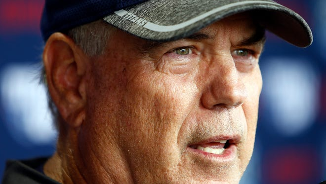 Titans defensive coordinator Dean Pees speaks to reporters during a press conference during practice Wednesday, May 30, 2018 in Nashville, Tenn.