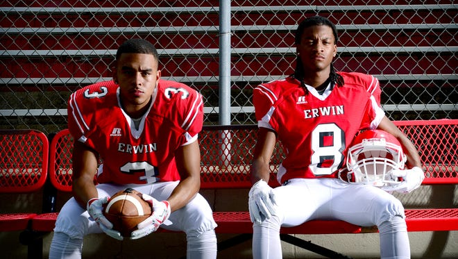 Erwin's Kealin Goode, left, and C.J. Thompson.