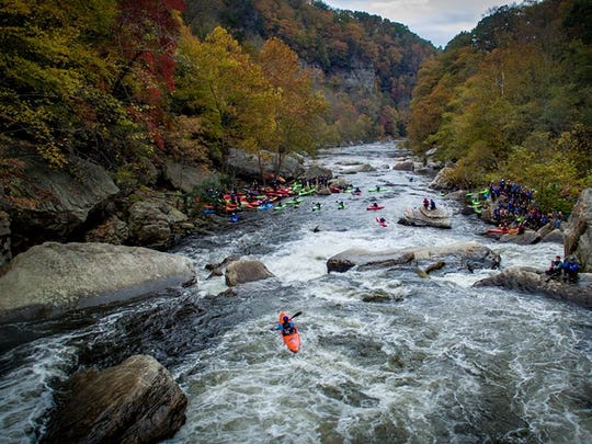 Kayakers in Russell Fork.