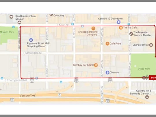 The route the March for Justice Saturday will start and end at Plaza Park in Ventura.