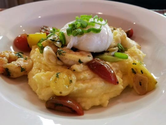 Shrimp and grits with a poached egg, a weekend brunch