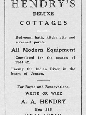 Advertisement for Hendry's Cottages in Jensen in 1942.
