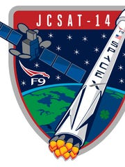 Official mission patch for SpaceX's Falcon 9 rocket launch of the JCSAT-14 commercial communications satellite for SKY Perfect JSAT.